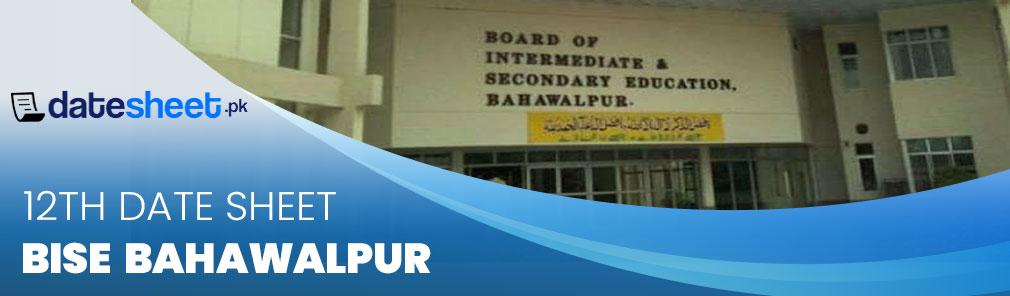 BISE Bahawalpur 12th Date Sheet 2020