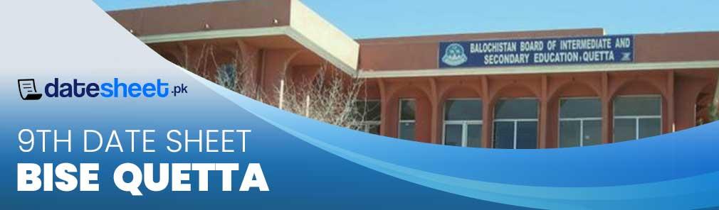Bise Quetta Board 9th Date Sheet 2020