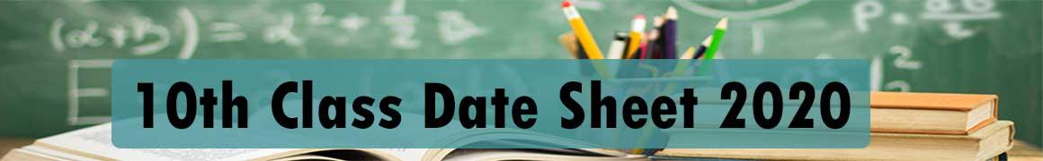 10th Class Date Sheet 2020