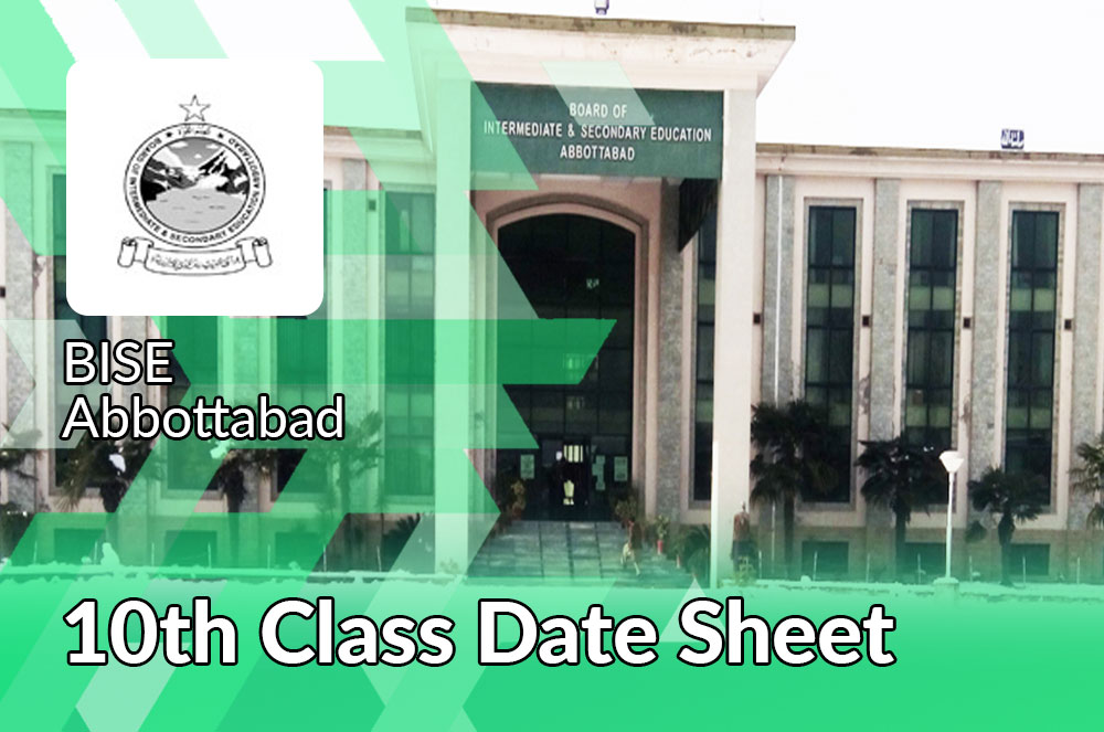 10th Class Date Sheet Bise Abbottabad Board
