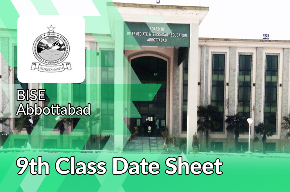 9th Class Date Sheet Bise Abbottabad Board