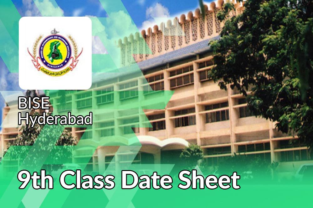 BISE Hyderabad 9th Class Date Sheet