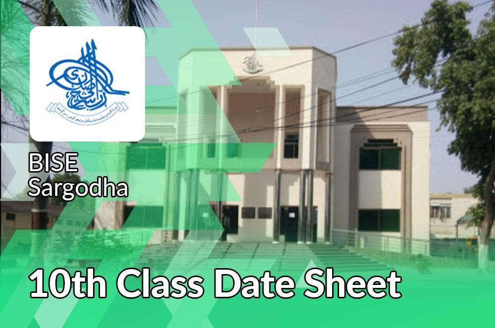 10th Class date Sheet 2021 Bise Sargodha Board