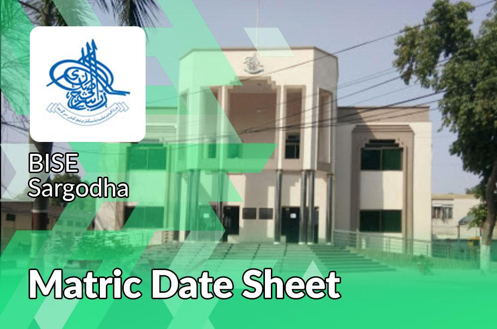 Matric Class date Sheet Bise Sargodha Board
